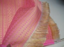 "UNUSUAL HOT PINK GOLD EMBROIDERY & GOLD WHITE FRINGE TABLECLOTH RUNNER 40"" X 74"""